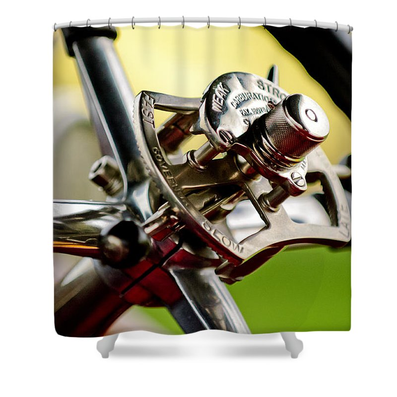 1914 Rolls-royce Silver Ghost Alpine Eagle Portholme Torpedo Shower Curtain featuring the photograph 1914 Rolls-royce Silver Ghost Controls by Jill Reger