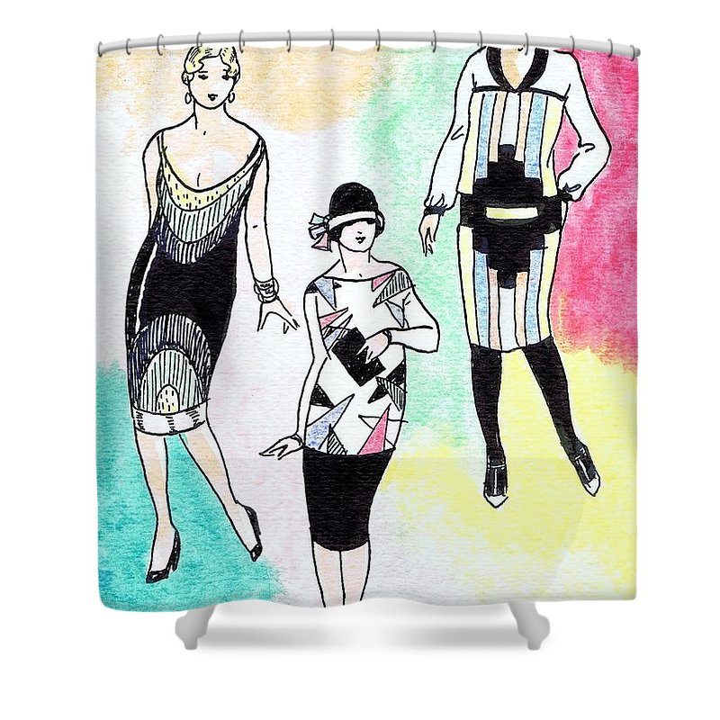 Nostalgia Shower Curtain featuring the drawing 1920s Gals 3 by Mel Thompson