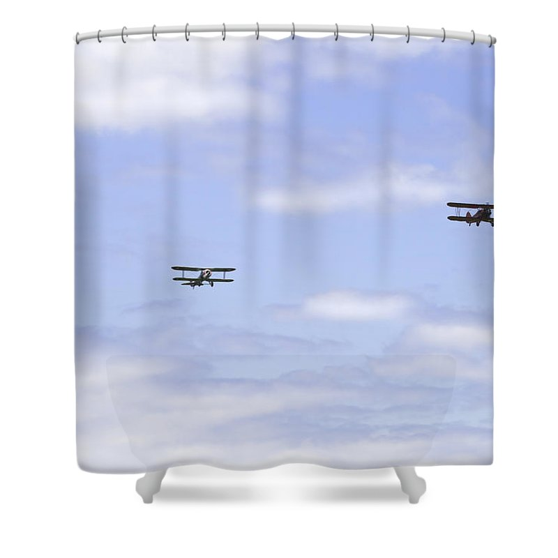1931 Shower Curtain Featuring The Photograph Waco Ubf2 1917 Spad Xiiici1917 Nieuport 28c1 And De