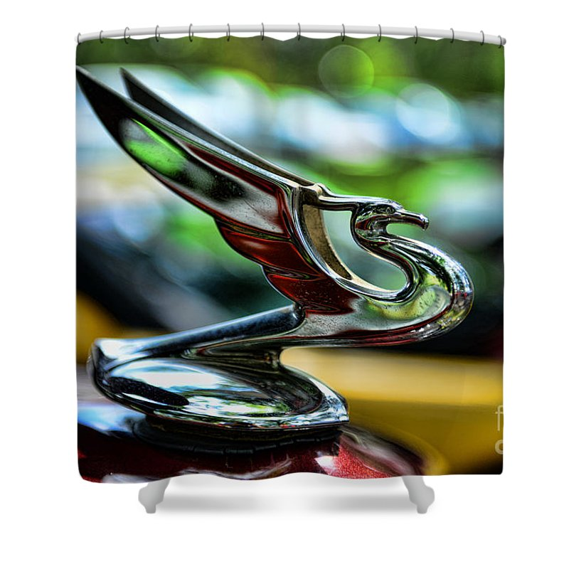 1934 Chevrolet Flying Eagle Hood Ornament Shower Curtain featuring the photograph 1934 Chevrolet Flying Eagle Hood Ornament - 2 by Paul Ward