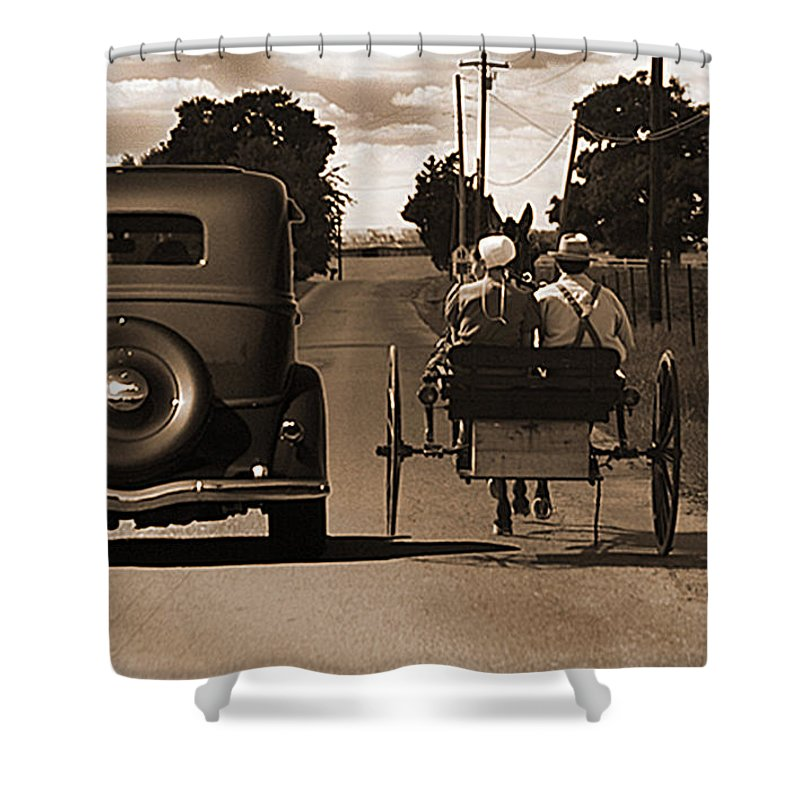 1934chevy Shower Curtain featuring the photograph 1934 Chevy And Today's Horse And Buggy By Randall Branham by Randall Branham