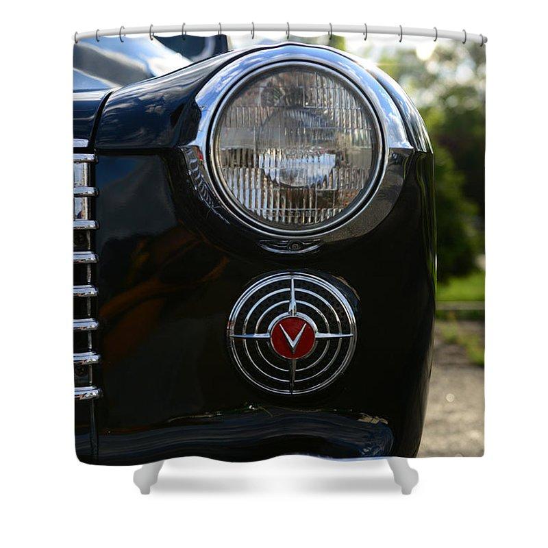 1941 Cadillac Headlight Shower Curtain featuring the photograph 1941 Cadillac Headlight by Paul Ward