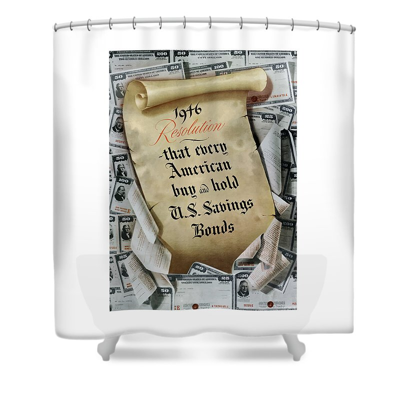 Savings Bonds Shower Curtain featuring the painting 1946 Resolution by War Is Hell Store