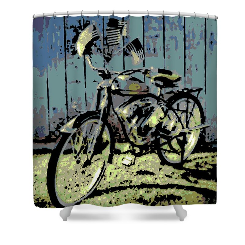 1947 Shower Curtain featuring the photograph 1947 Whizzer by George Pedro