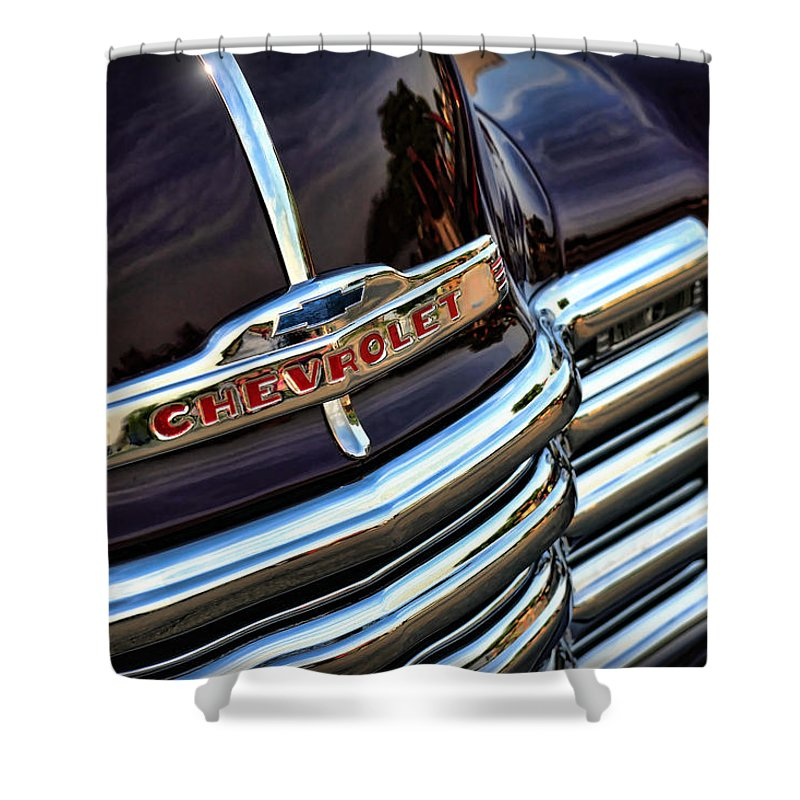 1947 Shower Curtain featuring the photograph 1953 Chevy Pickup Grille by Gordon Dean II