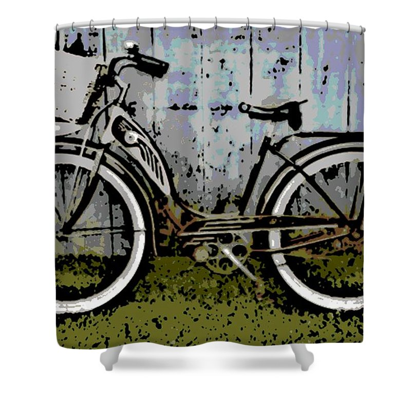 1953 Shower Curtain featuring the photograph 1953 Schwinn Bicycle by George Pedro
