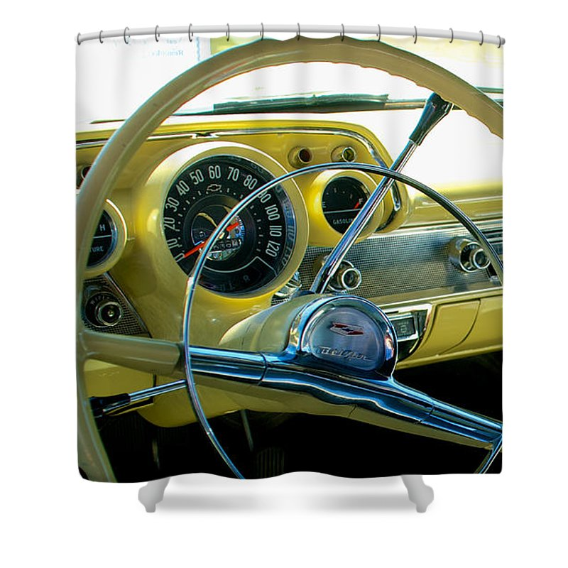 1957 Shower Curtain featuring the photograph 1957 Chevy Bel Air Dash by Mark Dodd