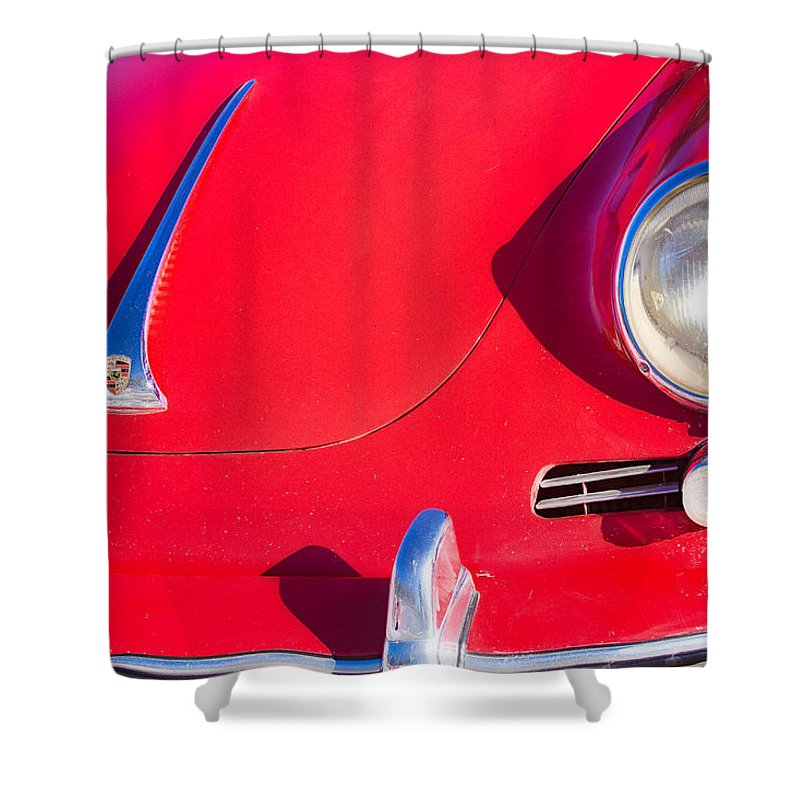 Automobiles Shower Curtain featuring the photograph 1963 Red Porsche by James BO Insogna