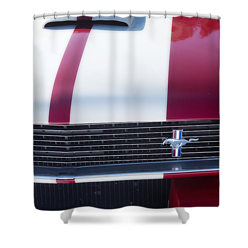 Automobiles Shower Curtain featuring the photograph 1966 Red Ford Mustang Shelby Gt350 Front by James BO Insogna