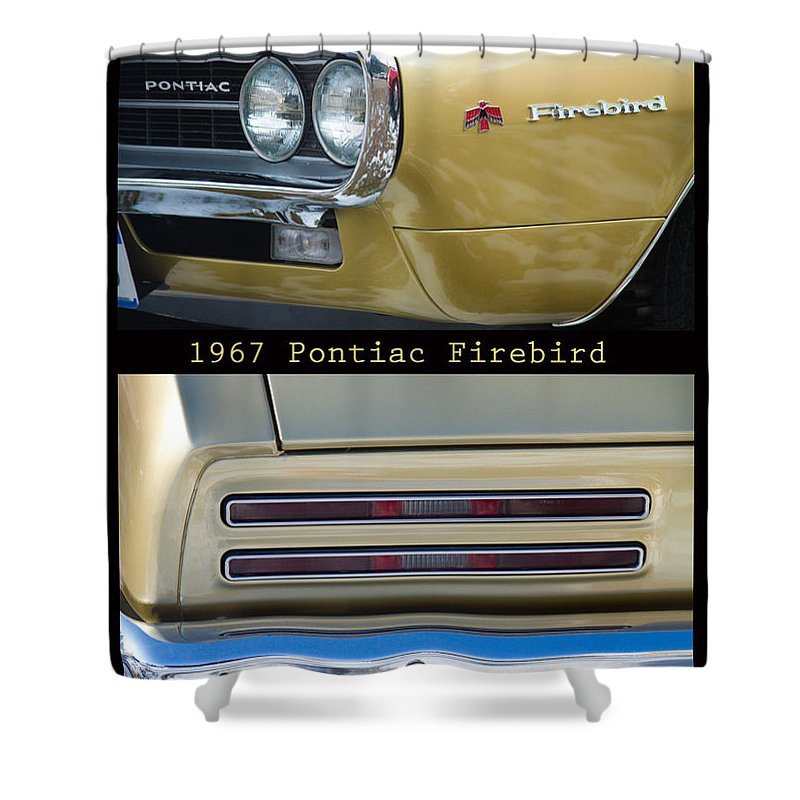 1967 Shower Curtain featuring the photograph 1967 Bronze Pontiac Firebird Poster S by James BO Insogna