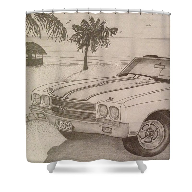20838b16e 1973 Xrtt Shower Curtain featuring the drawing 1970 Ss Chevelle Ls6 by  Peter Griffen