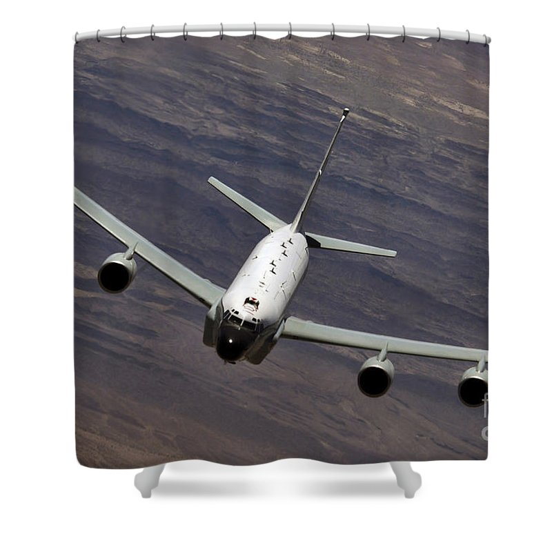 Aerial Shower Curtain featuring the photograph A U.s. Air Force Rc-135 Rivet Joint by Stocktrek Images