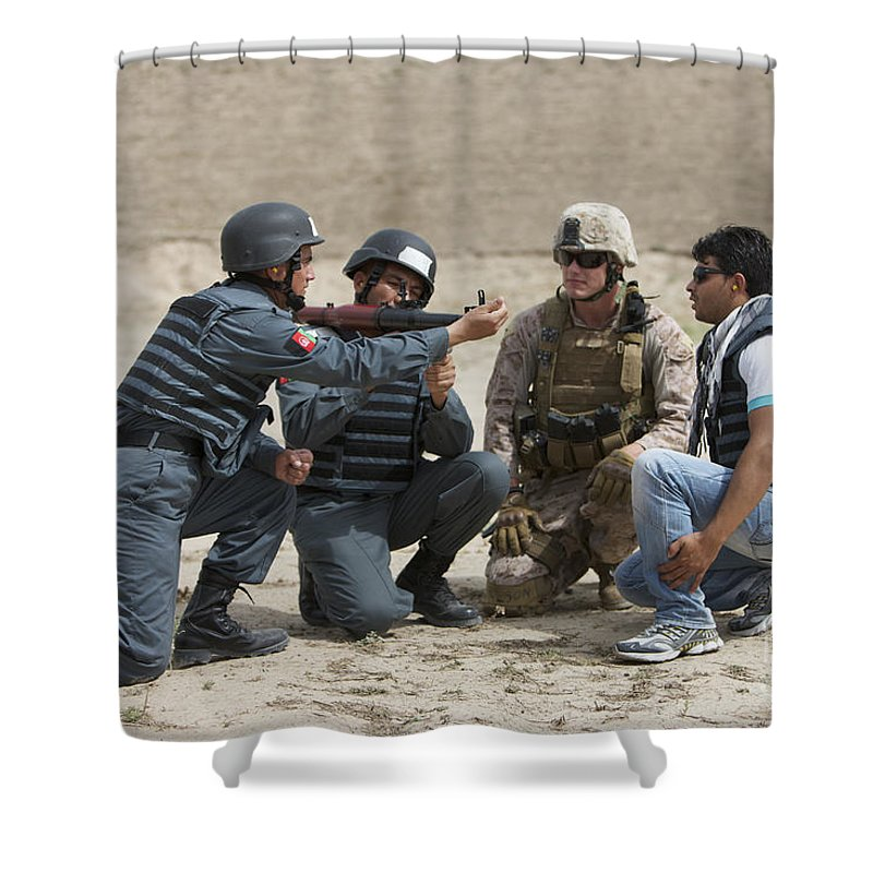 Afghanistan Shower Curtain featuring the photograph An Afghan Police Student Loads A Rpg-7 by Terry Moore