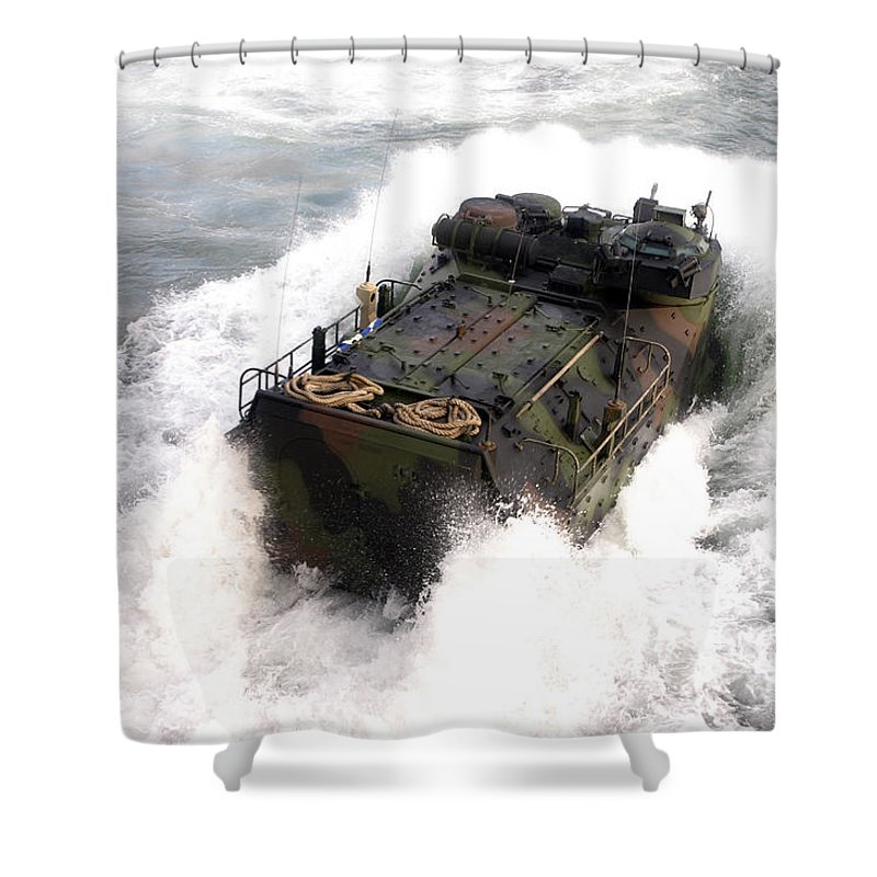 Aav Shower Curtain featuring the photograph An Amphibious Assault Vehicle by Stocktrek Images