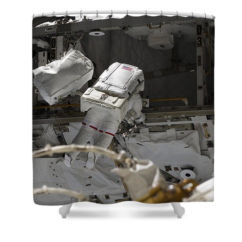 Construction Shower Curtain featuring the photograph Astronaut Participates by Stocktrek Images