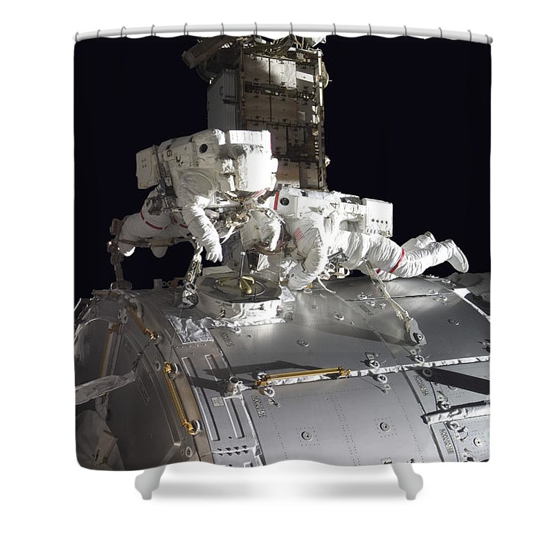 Adults Only Shower Curtain featuring the photograph Astronauts Participate by Stocktrek Images