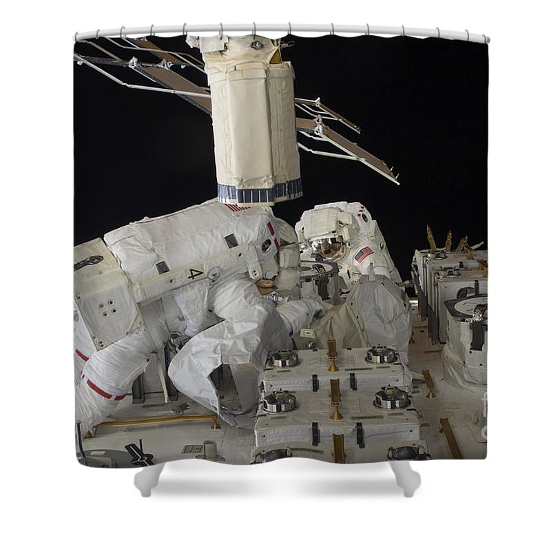 Sts-127 Shower Curtain featuring the photograph Astronauts Working On The International by Stocktrek Images