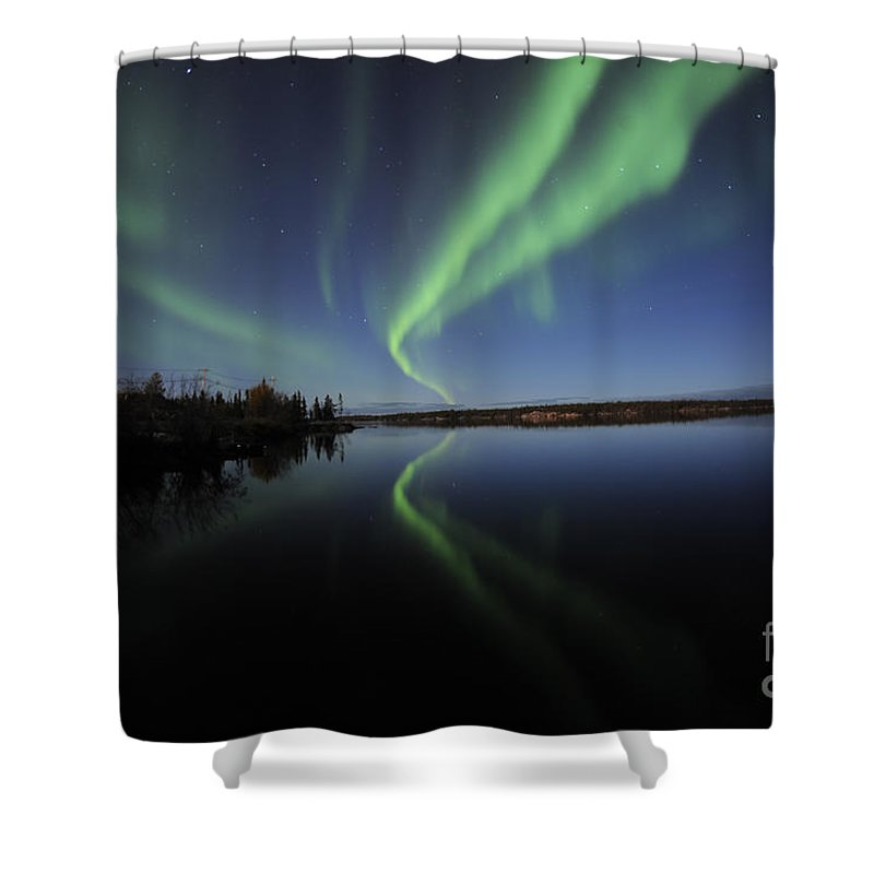 Yellowknife Shower Curtain featuring the photograph Aurora Borealis Over Long Lake by Jiri Hermann