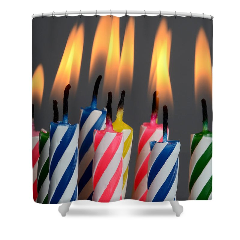 Candle Shower Curtain featuring the photograph Birthday Candles by Photo Researchers, Inc.