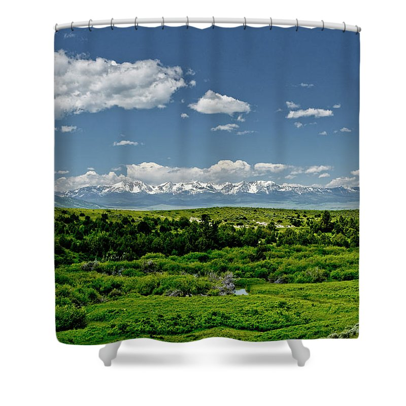 Americas Shower Curtain featuring the photograph Bridger Mountain View by Roderick Bley