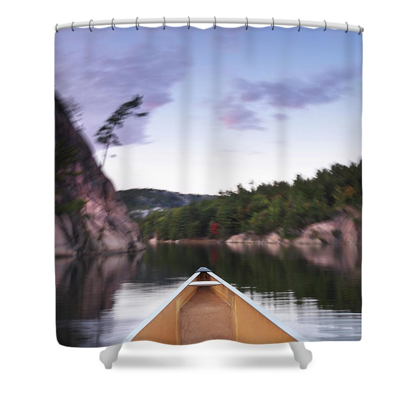 Canoe Shower Curtain featuring the photograph Canoeing In Ontario Provincial Park by Oleksiy Maksymenko
