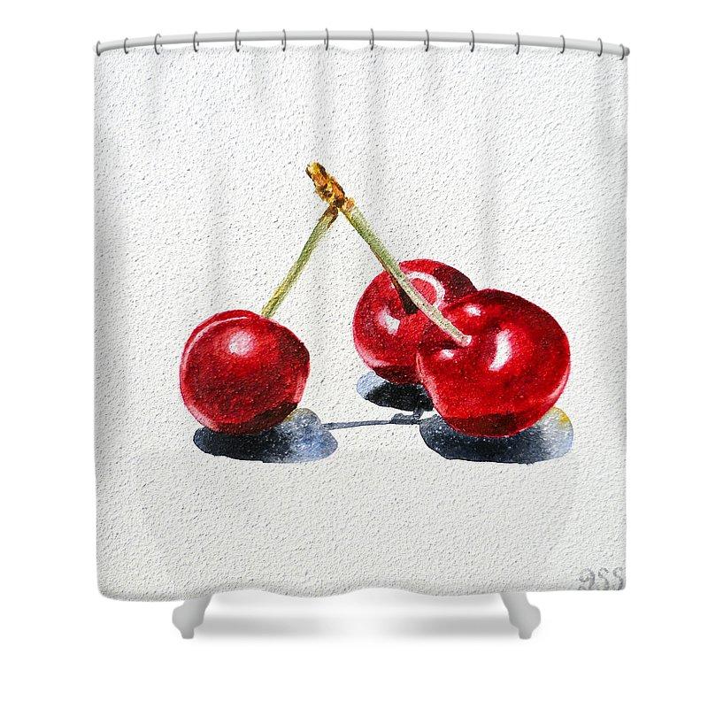 Cherry Shower Curtain featuring the painting Cherries by Irina Sztukowski