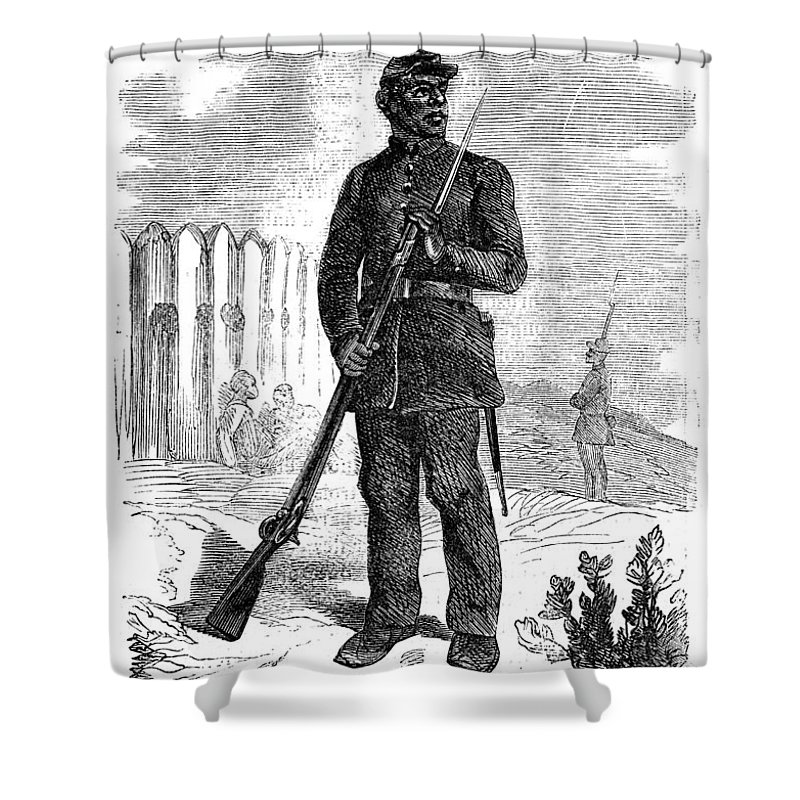 1864 Shower Curtain featuring the photograph Civil War: Black Troops by Granger