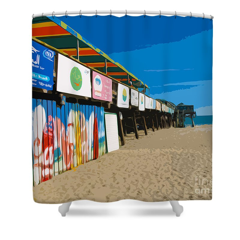 Florida Shower Curtain featuring the painting Cocoa Beach Pier Florida by Allan Hughes