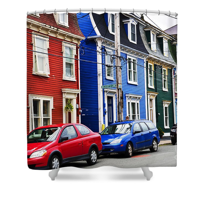Houses Shower Curtain featuring the photograph Colorful Houses In St. John's by Elena Elisseeva