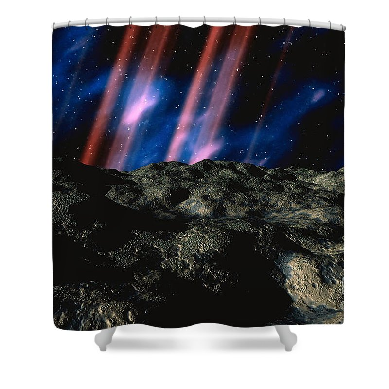Horizontal Shower Curtain featuring the digital art Computer Space Image by Stocktrek Images