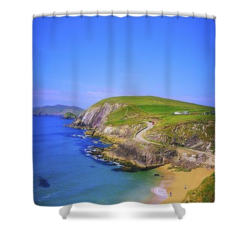 Blue Sky Shower Curtain featuring the photograph Coumeenoole Beach, Dingle Peninsula, Co by The Irish Image Collection