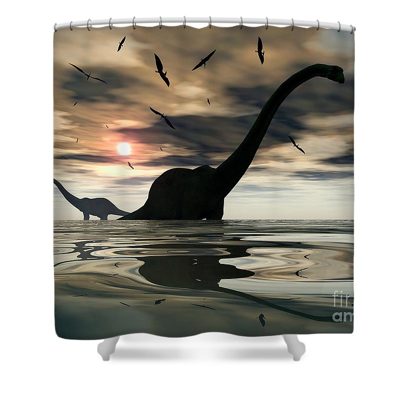 Digitally Generated Image Shower Curtain featuring the digital art Diplodocus Dinosaurs Bathe In A Large by Mark Stevenson