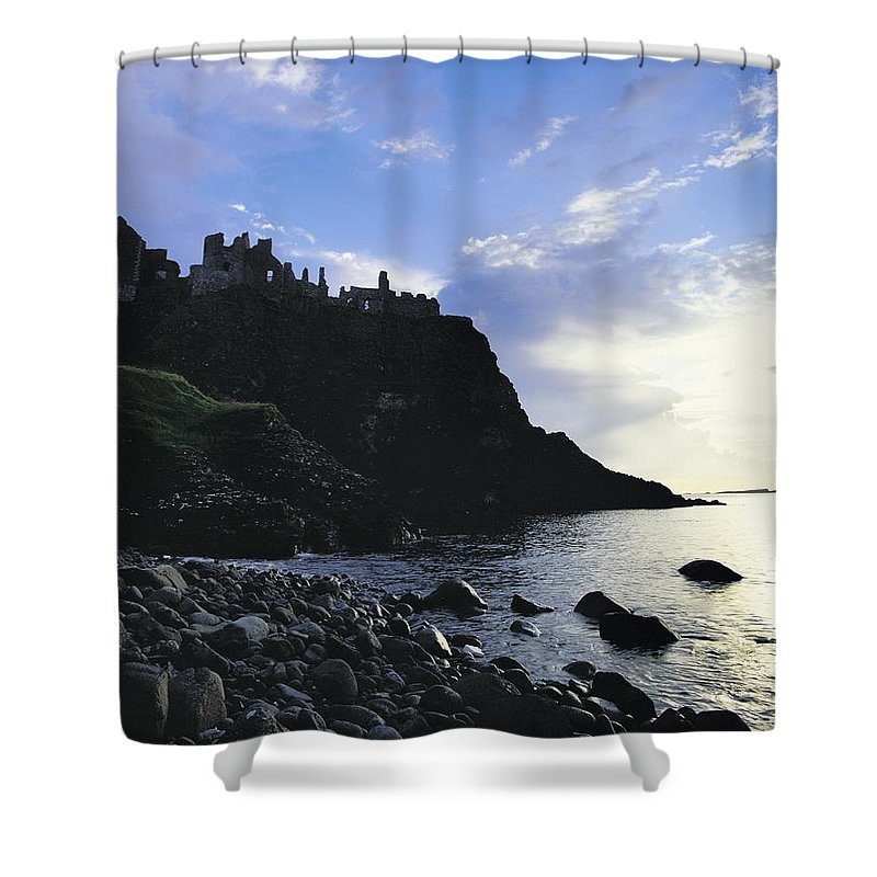 Antrim Shower Curtain featuring the photograph Dunluce Castle, Co Antrim, Ireland by The Irish Image Collection