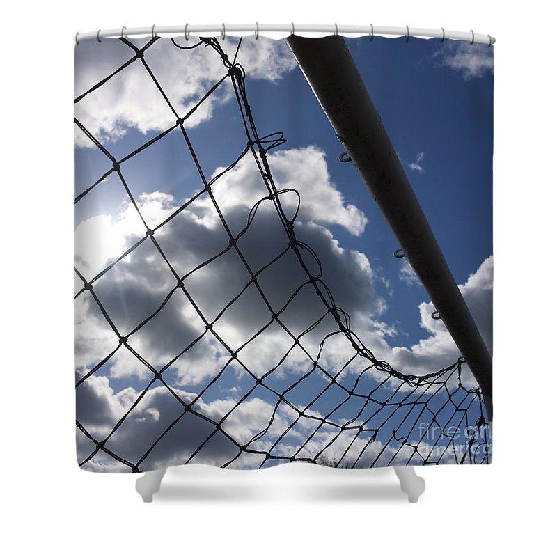 Worms-eye Shower Curtain featuring the photograph Goal Against Cloudy Sky. by Bernard Jaubert