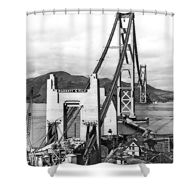 1930s Shower Curtain featuring the photograph Golden Gate Bridge Work by Underwood Archives