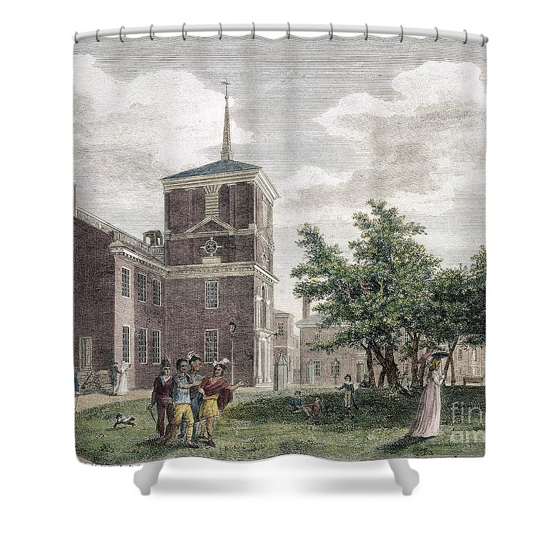 1799 Shower Curtain featuring the photograph Independence Hall, 1799 by Granger