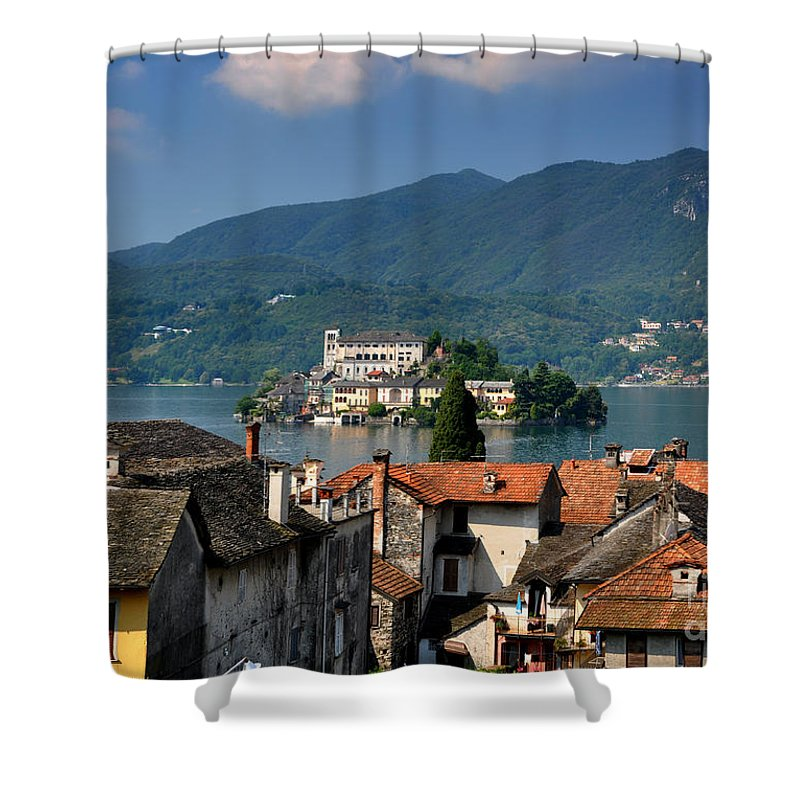 Island Shower Curtain featuring the photograph Island San Giulio by Mats Silvan
