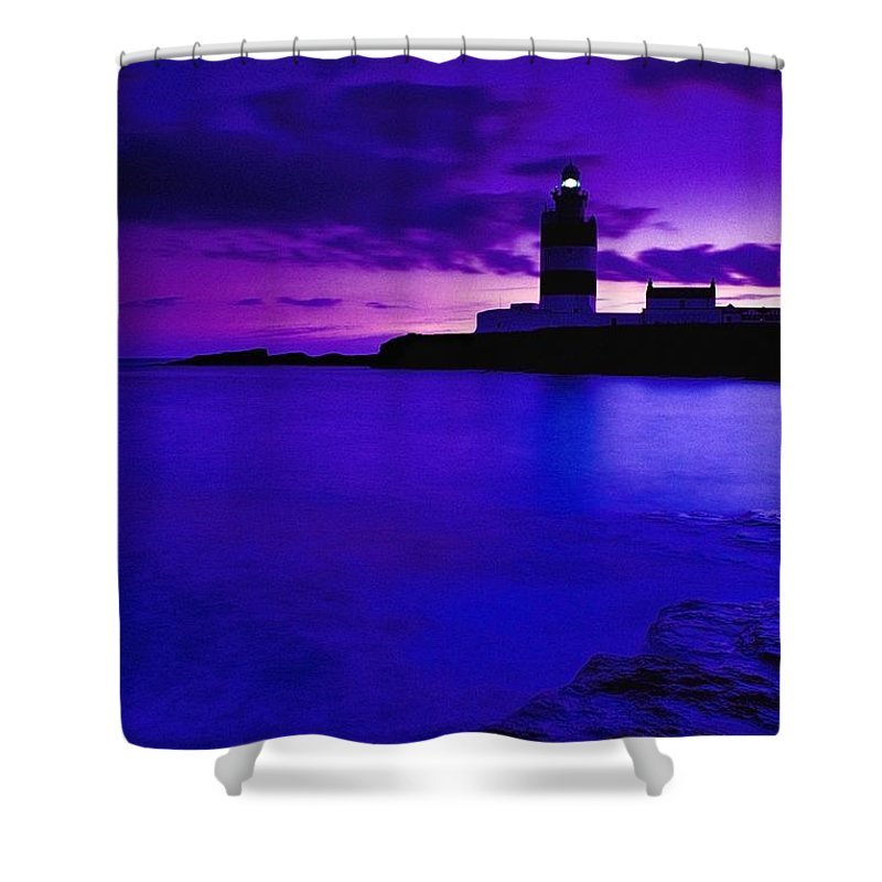 Beacon Shower Curtain featuring the photograph Lighthouse Beacon At Night by Gareth McCormack