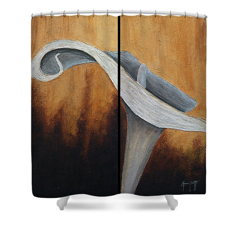 Art Shower Curtain featuring the mixed media Lilly by Mauro Celotti