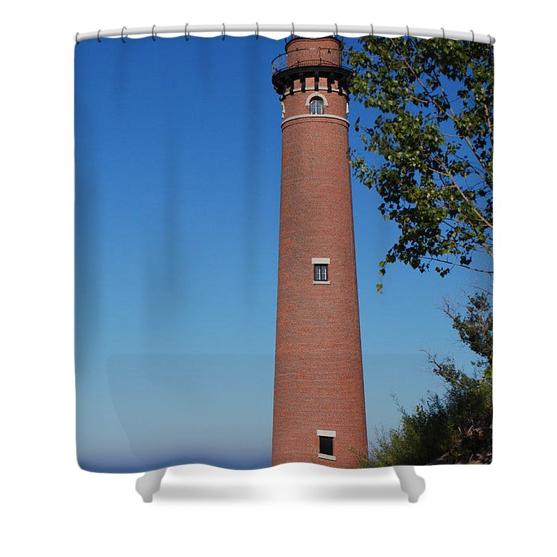 Little Sable Point Lighthouse Shower Curtain featuring the photograph Little Sable Point Lighthouse by Grace Grogan