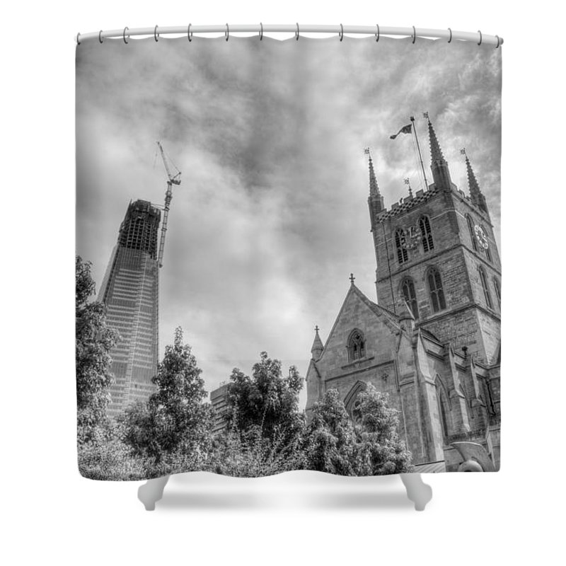 Shard Shower Curtain featuring the photograph New and Old by Chris Day