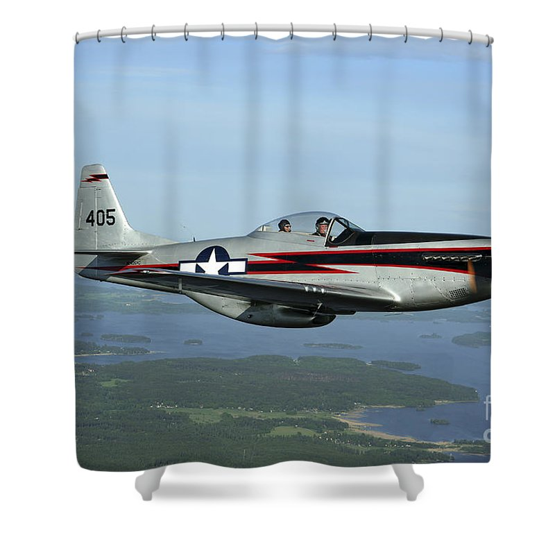 Transportation Shower Curtain featuring the photograph North American P-51 Cavalier Mustang by Daniel Karlsson