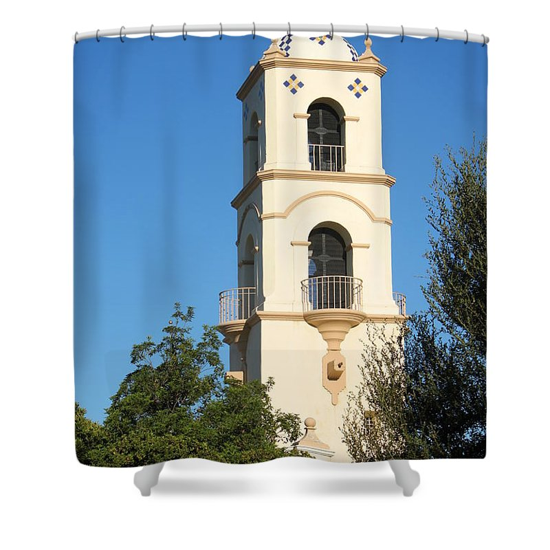 Structure Shower Curtain featuring the photograph Ojai Post Office Tower by Henrik Lehnerer