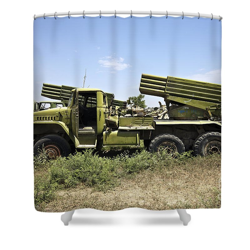 War Shower Curtain featuring the photograph Old Russian Bm-21 Launch Vehicle by Terry Moore