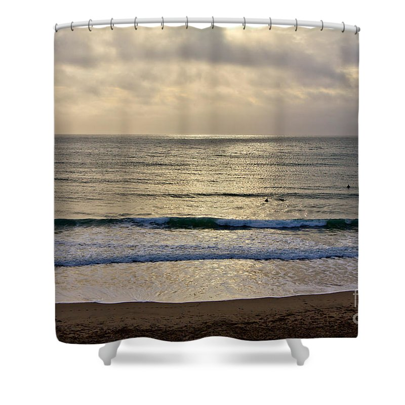 Praa Sands Cornwall Shower Curtain featuring the photograph Praa Sands by Brian Roscorla