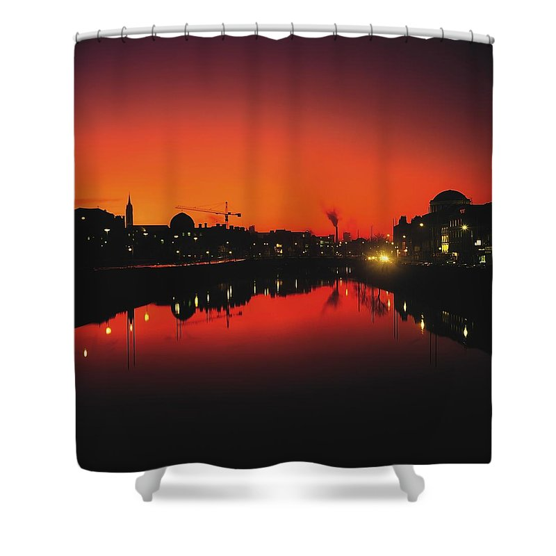 Atmosphere Shower Curtain featuring the photograph River Liffey, Dublin, Co Dublin, Ireland by The Irish Image Collection