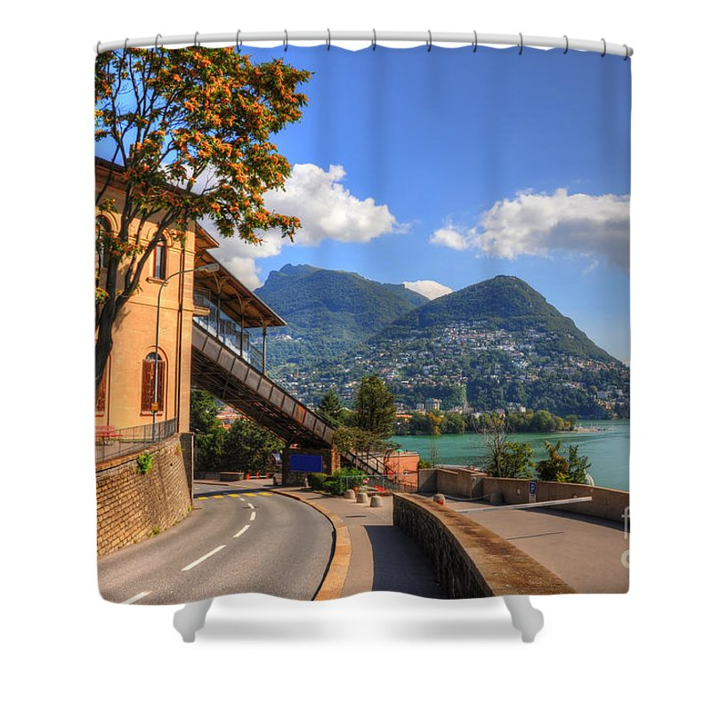Road Shower Curtain featuring the photograph Road And Mountain by Mats Silvan