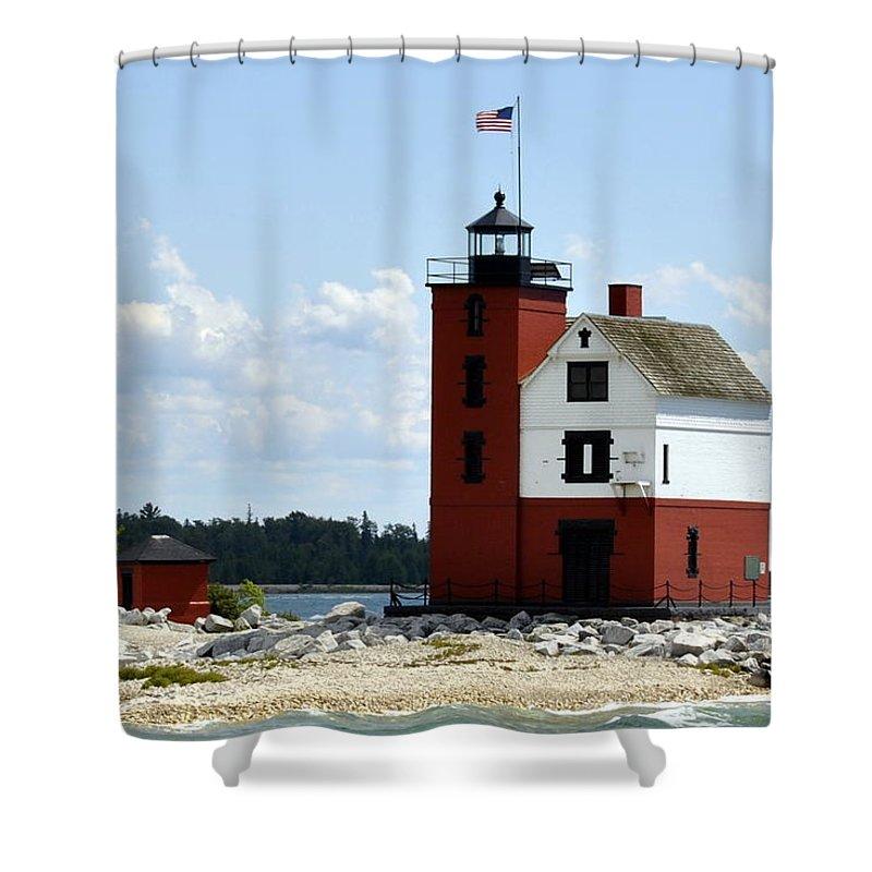 Mackinac Island Shower Curtain featuring the photograph Round Island Lighthouse by Marysue Ryan