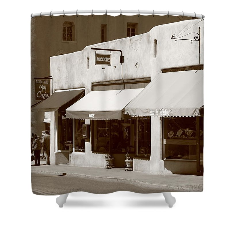 Adobe Shower Curtain featuring the photograph Santa Fe Shops by Frank Romeo