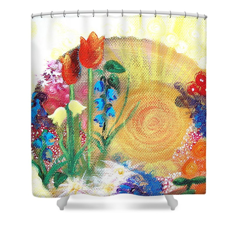 Flowers Shower Curtain featuring the painting Seeds by Catt Kyriacou